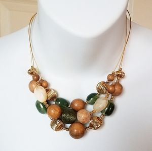 New York & Company Beaded Layer Ornament Necklace
